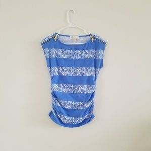MICHAEL Michael Kors Blue Striped Ruched Top Sz M
